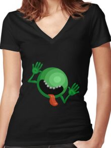 The Hitchhiker's Guide to the Galaxy - Dont Panic  Women's Fitted V-Neck T-Shirt