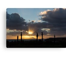 One Very Italian Sunset - Five Cypress Trees on the Shore Canvas Print
