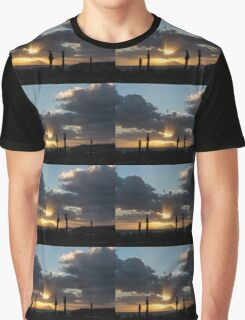 One Very Italian Sunset - Five Cypress Trees on the Shore Graphic T-Shirt