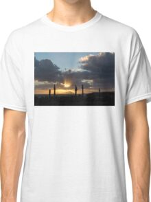 One Very Italian Sunset - Five Cypress Trees on the Shore Classic T-Shirt