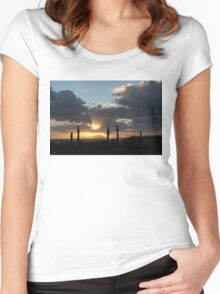 One Very Italian Sunset - Five Cypress Trees on the Shore Women's Fitted Scoop T-Shirt