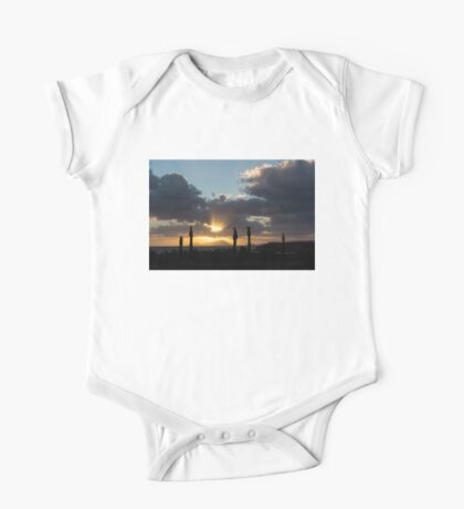 One Very Italian Sunset - Five Cypress Trees on the Shore One Piece - Short Sleeve