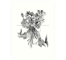 Waterlilies and goldfishes Art Print