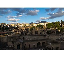 Herculaneum - the Old Town, the New Town and Mount Vesuvius Volcano Looming on Top Photographic Print