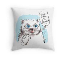 thinking white kitty Throw Pillow