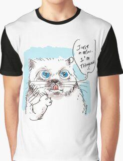thinking white kitty Graphic T-Shirt
