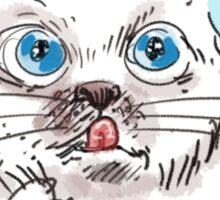 thinking white kitty Sticker