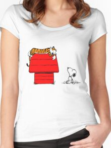 Snoopy And Hobbes Women's Fitted Scoop T-Shirt
