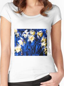 Blue Daffodils. Women's Fitted Scoop T-Shirt
