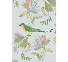 pretty bird dark flower seamless pattern Photographic Print