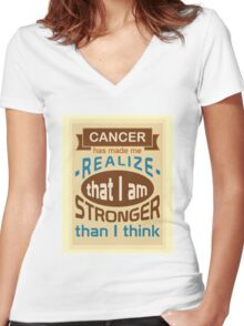 Cancer: I am stronger than I think Women's Fitted V-Neck T-Shirt