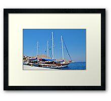Sailing boats at Halki Framed Print