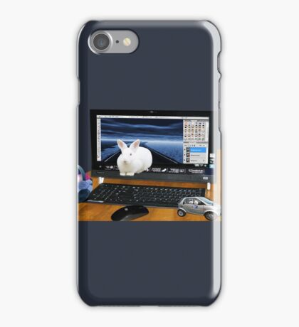 ❤‿❤ COMPUTER BUNNY HOPPING OUT TO SAY HAPPY EASTER TO ALL❤‿❤ iPhone Case/Skin