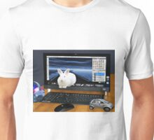 ❤‿❤ COMPUTER BUNNY HOPPING OUT TO SAY HAPPY EASTER TO ALL❤‿❤ Unisex T-Shirt