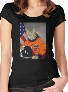 Astronaut Cat Kitten Funny Space Women's Fitted Scoop T-Shirt