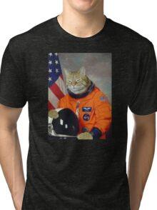 Astronaut Cat Kitten Funny Space Tri-blend T-Shirt