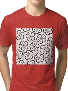 Modern Black and White Flowers and Polka Dots Tri-blend T-Shirt