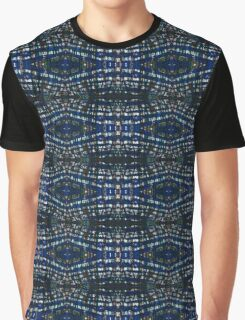 Blue Drawing Ink Print Graphic T-Shirt