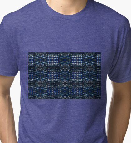 Blue Drawing Ink Print Tri-blend T-Shirt