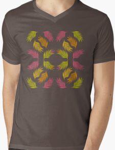 Tropical Palm in Plum Mens V-Neck T-Shirt