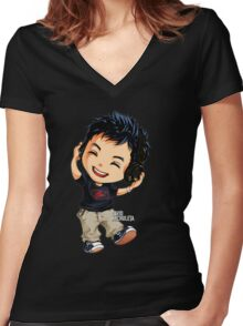 cheerful music Women's Fitted V-Neck T-Shirt