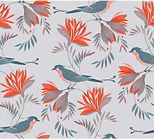 pretty bird red flower pattern  Photographic Print