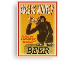 grease monkey beer poster Canvas Print