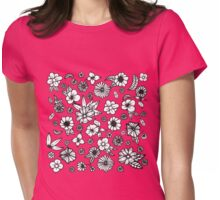 White and Black Hand Drawn Flowers and Foliage Womens Fitted T-Shirt