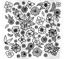 White and Black Hand Drawn Flowers and Foliage Poster