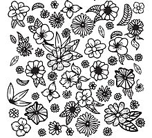 White and Black Hand Drawn Flowers and Foliage Photographic Print