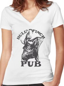 Bull and Finch pub t-shirt – Cheers, Frasier, Vintage/Weathered Women's Fitted V-Neck T-Shirt