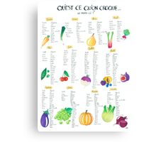 Calendar seasonal fruit and vegetables Canvas Print