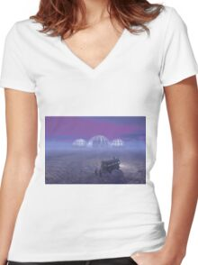 Mineral exploration on an Alien Planet Women's Fitted V-Neck T-Shirt