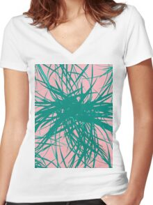 Dragon Plant Pattern - Pink Variation Women's Fitted V-Neck T-Shirt