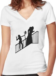Buffy VS Count Orlok! Women's Fitted V-Neck T-Shirt