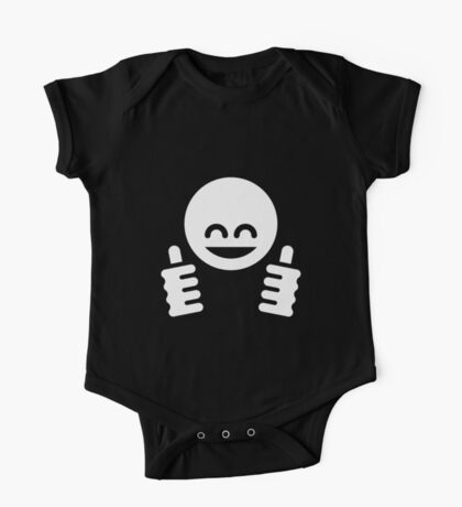 Thumb Up Emoticon Smiley (White) One Piece - Short Sleeve