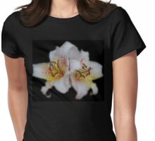 Textured White Lilies Womens Fitted T-Shirt