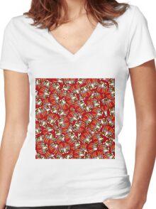 Mini Daruma Women's Fitted V-Neck T-Shirt