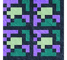Violet Green Pixel Blocks Photographic Print