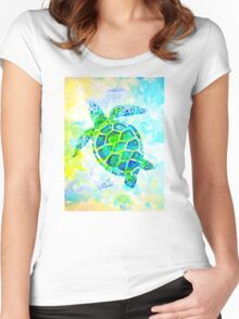 Sea Turtle with background by Jan Marvin Women's Fitted Scoop T-Shirt