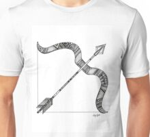 Sagittarius Bow and Arrow Black and White Illustration Unisex T-Shirt