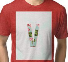 Floral Letter V - Letter Collection Tri-blend T-Shirt