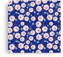 Trendy modern pink teal blue abstract flowers Canvas Print