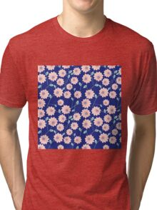 Trendy modern pink teal blue abstract flowers Tri-blend T-Shirt