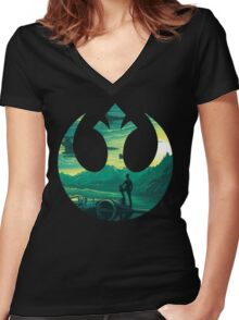 Star Wars VII - Poe Starship Women's Fitted V-Neck T-Shirt