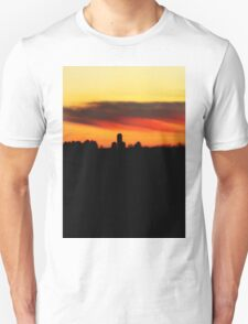 Farm Silhouette In Sunset Unisex T-Shirt