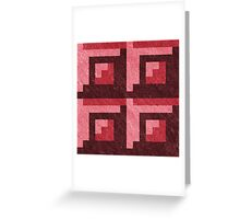 Red Blocks Pixel Pattern Greeting Card