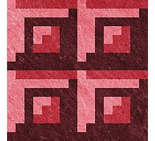 Red Blocks Pixel Pattern Photographic Print