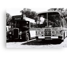Vintage Buses in Black and White Canvas Print