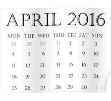 Calendar April 2016 Poster